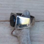 Anillo cuadrado para hombres Ónix - bañado en plata - XXL Hardwear